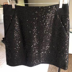 Loft black sequin wool mini skirt size 6